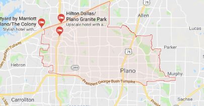 plano tx ac and heating service area map