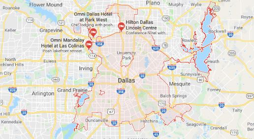 map of dallas tx ac and heating service area
